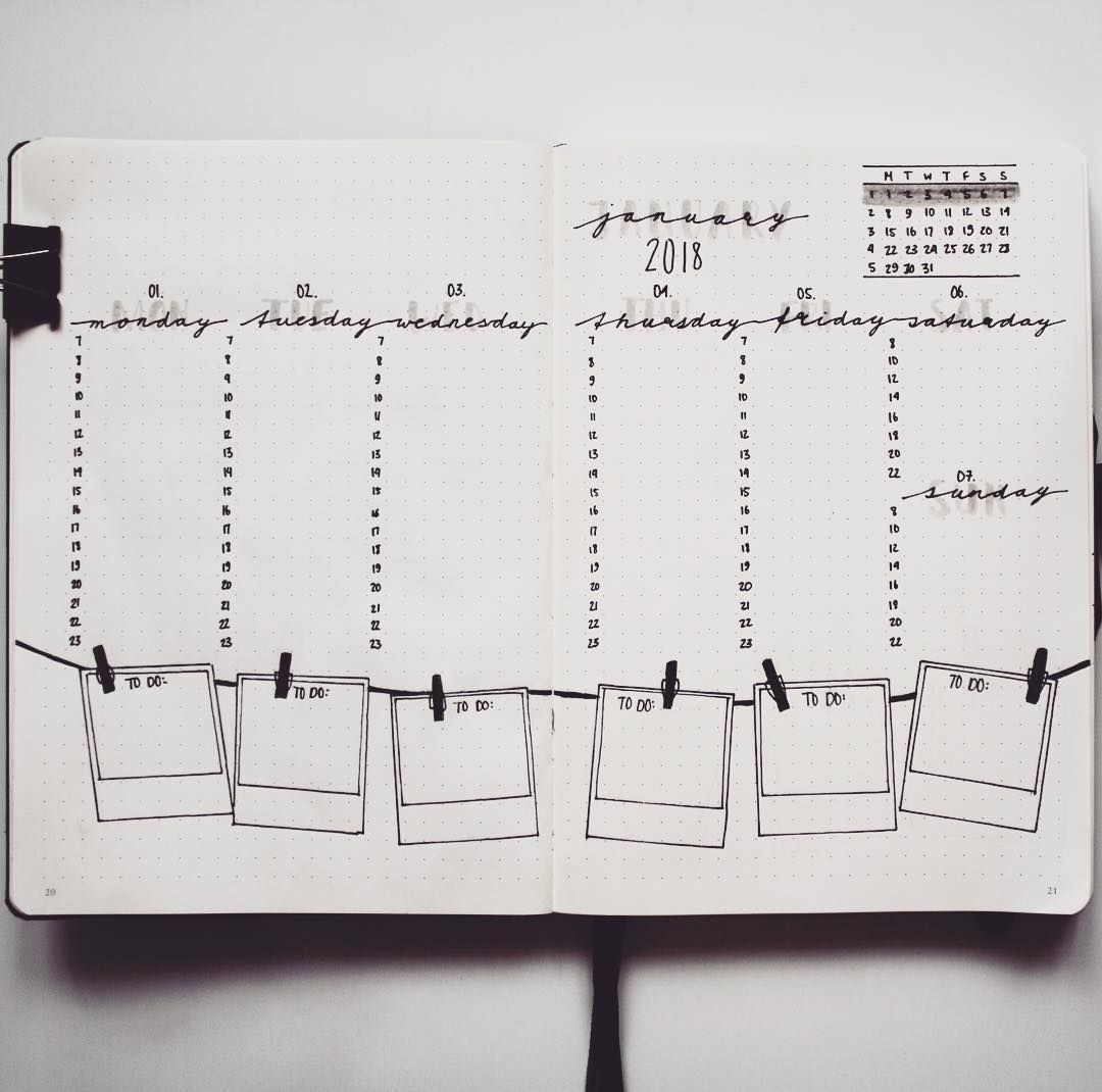 """70 Likes, 4 Comments - Let's (sm)art (Let's_(sm)art) on Instagram: """"WEEKLY SPREAD 1. Throwback to my layout of week one 2018. I tried to keep the ph..."""