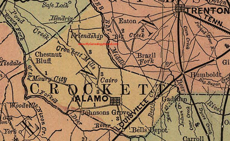 Bells Tennessee Map.Crockett County Tennessee 1888 Map Alamo Gadsden Friendship