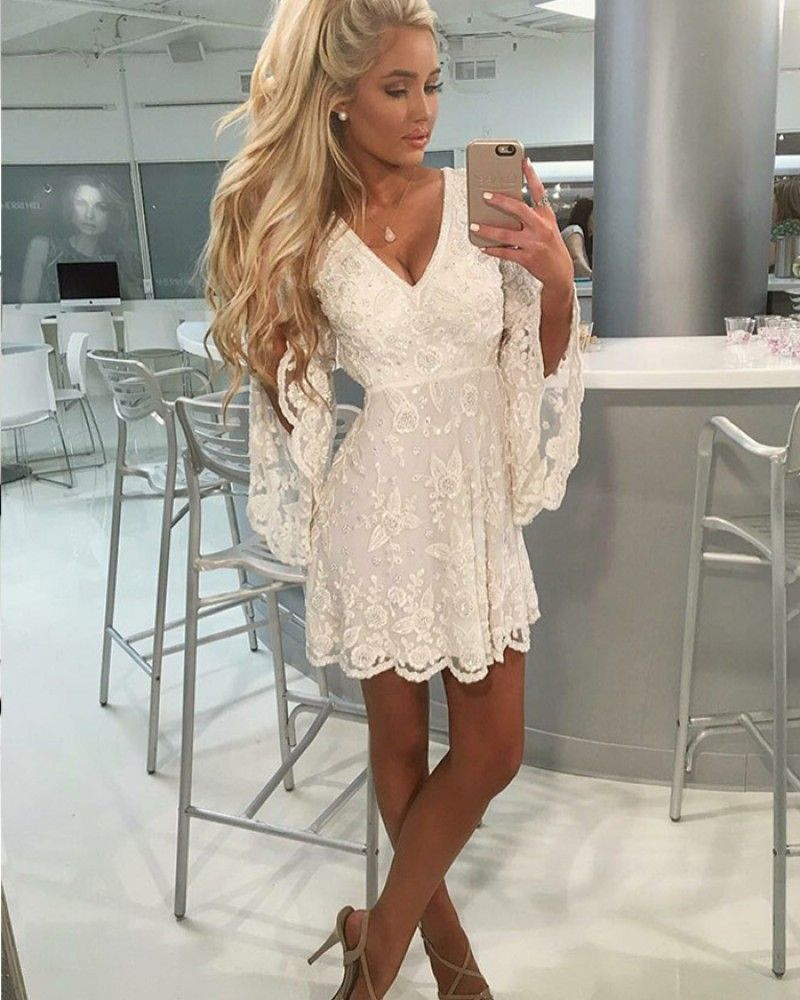 920658257fd A-line Ivory V-neck Lace Homecoming Dress with Bell Sleeves HD3179 ...