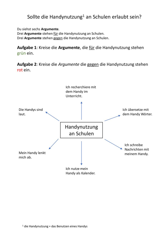 Argumentation Einstieg Handynutzung Daz Unterrichtsmaterial Im Fach Deutsch In 2020 Arbeitsblatter Erstellen Konjunktionen Deutsch Unterricht