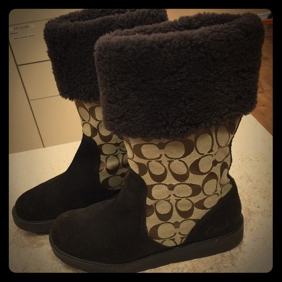 Coach Kally Boots Coach monogram with fur top boot. Only worn a couple times. Coach Shoes Winter & Rain Boots