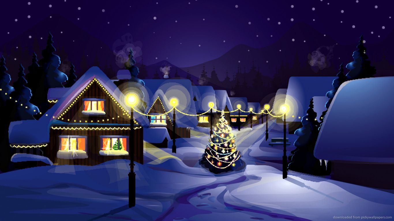 Vector Of Winter Landscape For 1366x768 Merry Christmas