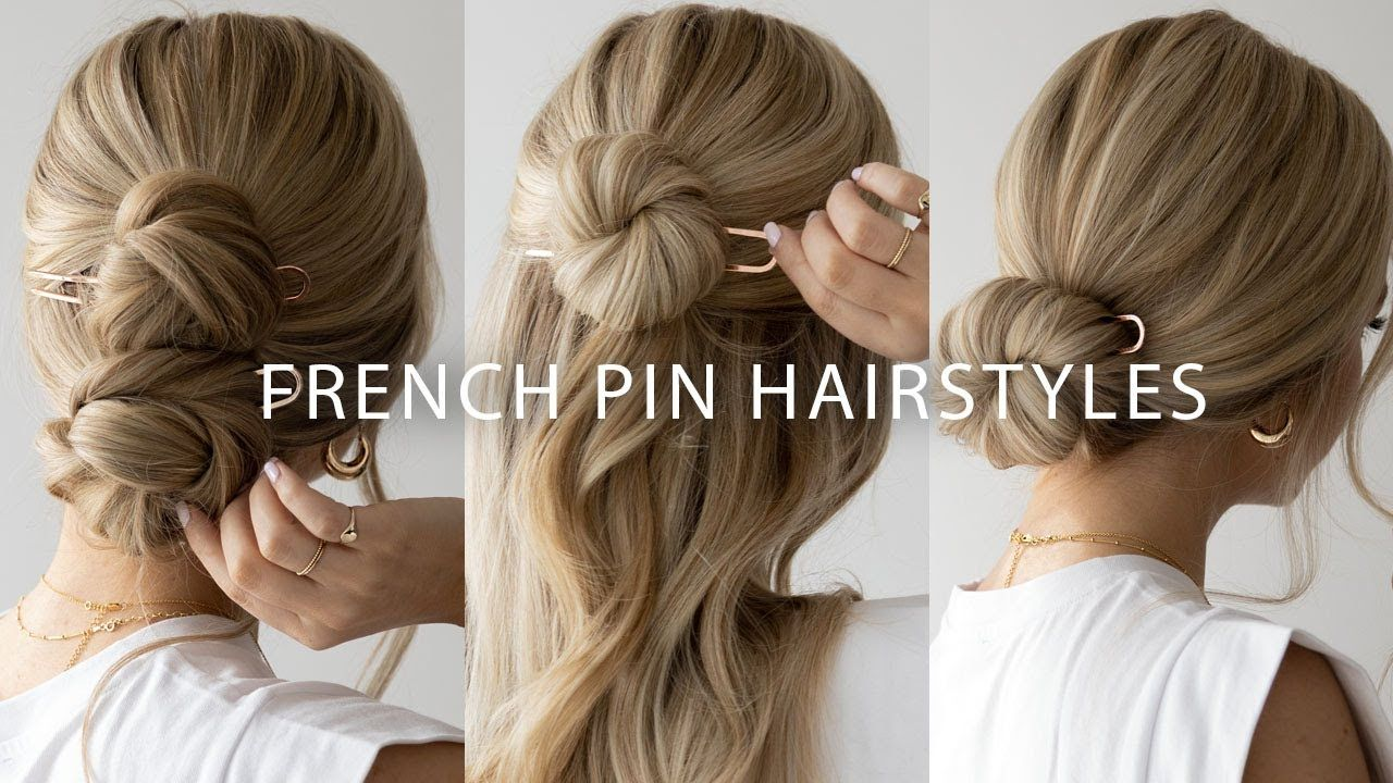 4 Easy Ways To Use A French Pin Youtube In 2020 Hair Tutorial Hair Styles Half Up Hair