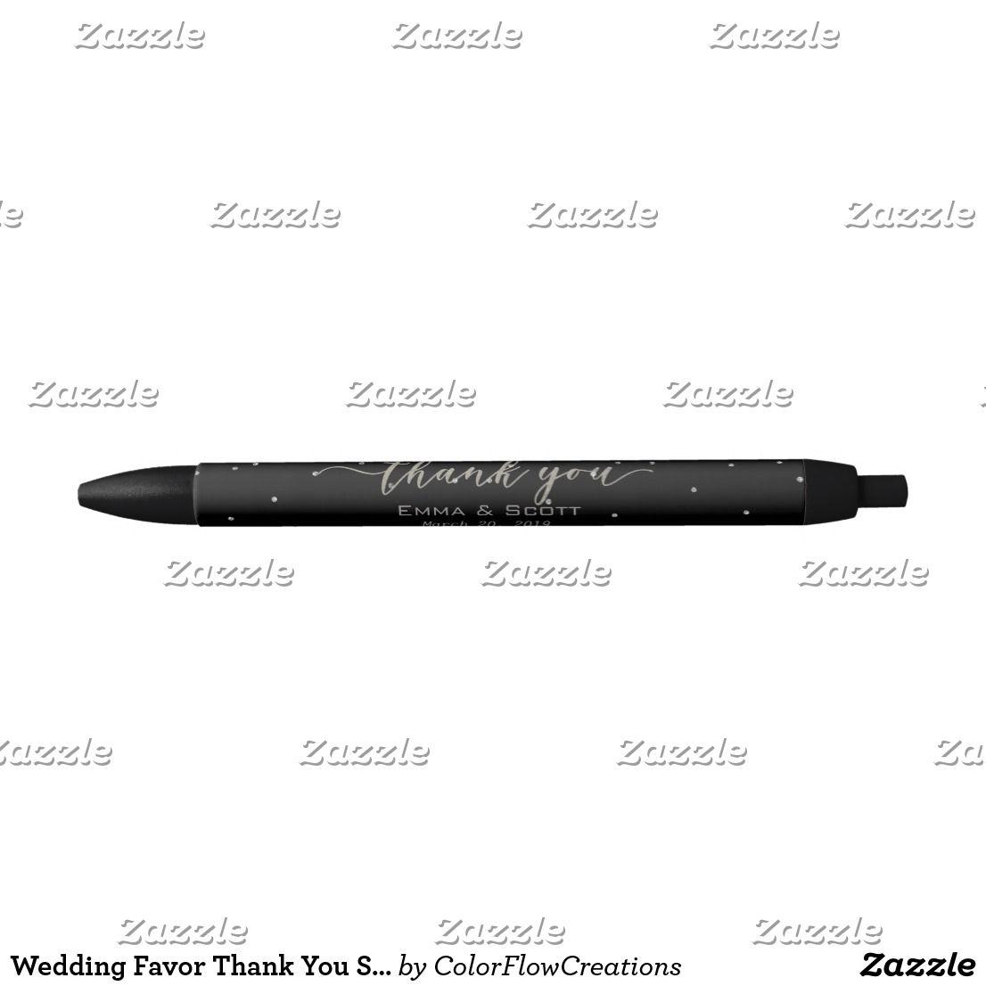 Wedding Favor Thank You Silver Script Confetti Black Ink Pen Zazzle Com Wedding Favours Thank You Wedding Favors Silver Wedding Theme