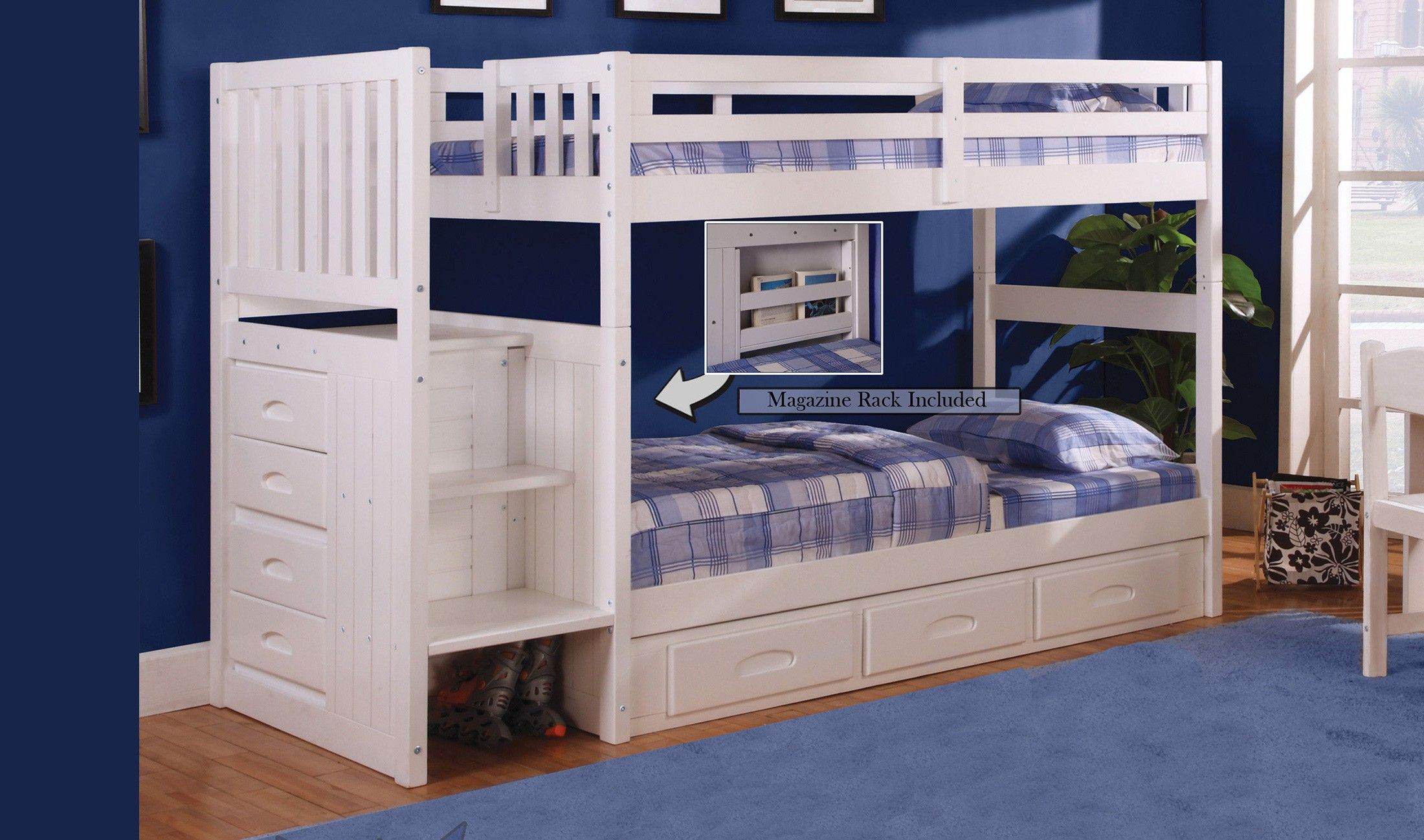 Discovery World Furniture White Staircase Mission Bunk Bed Twin Twin