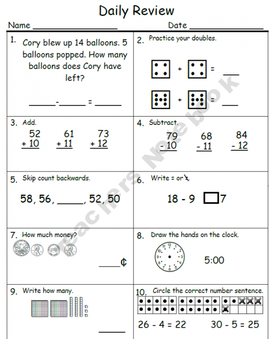 Daily Math Review 1st Up Education Ideas Pinterest Daily