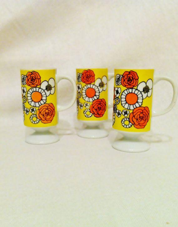 Vintage retro 70s cups orange and yellow flowers tea by Comforte, $6.50