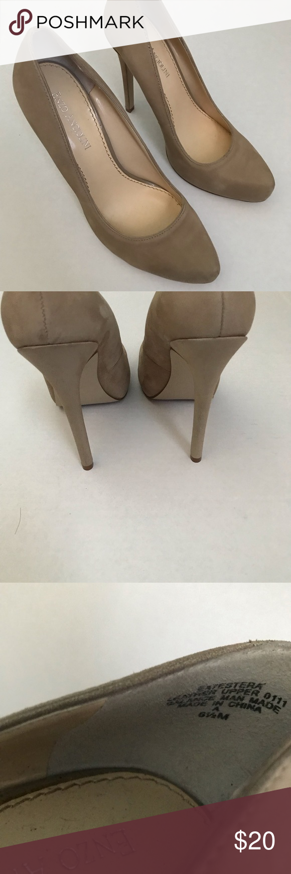 23966a8d782 Enzo Angiolini Suede Heels Enzo Angiolini Suede Heels Great condition  Slight discoloration on inside of right shoe (seen in 2nd to last photo)  Size 8 1/2 M ...