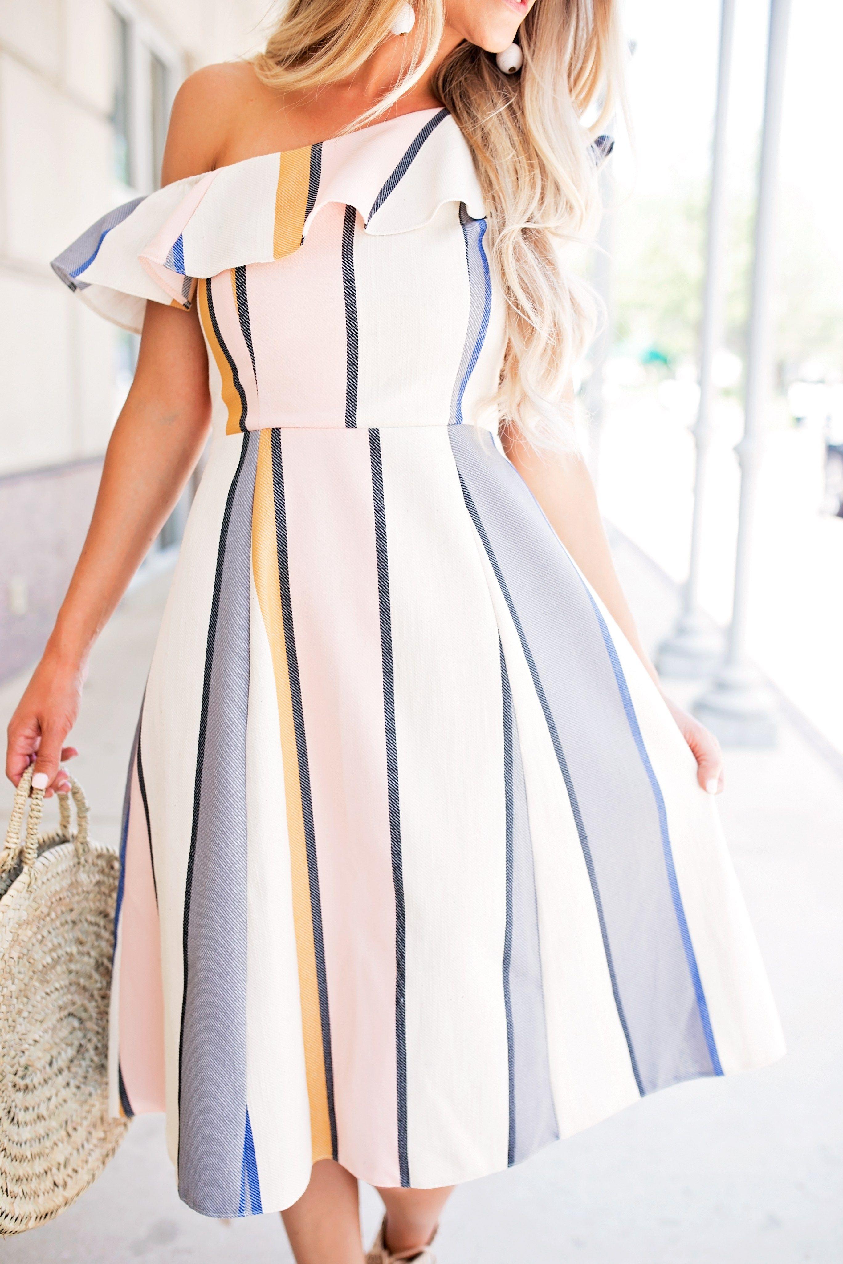 b7c2997b0216 Ruffle Stripe Asos Dress    10 Spring Dresses on a Budget