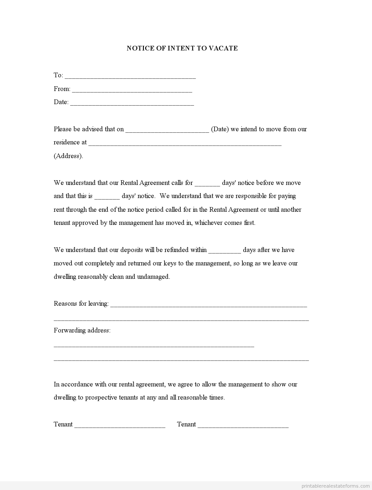 Sample Printable Notice Of Intent To Vacate Form  Printable Real