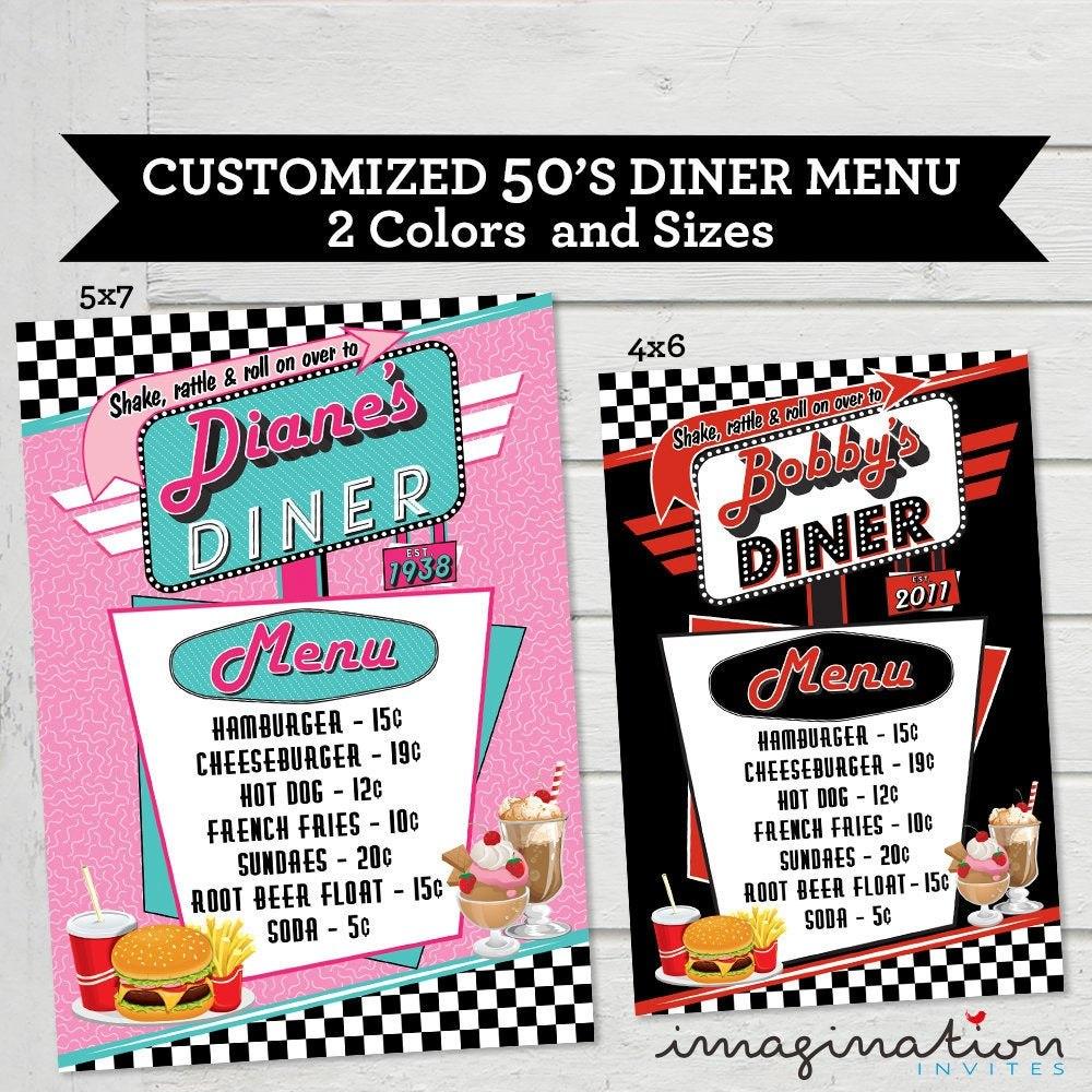 Vintage Diner Menu Template With Regard To 50s Diner Menu Template 10 Professional Templates Ideas 10 Professional Tem Diner Menu Diner Recipes 50s Diner