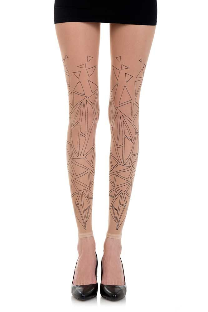 a57698b4c Geometrical Print Sheer Footless Tights Powder   Black 1