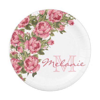 Vintage blush pink roses Peonies name monogram Paper Plate ...