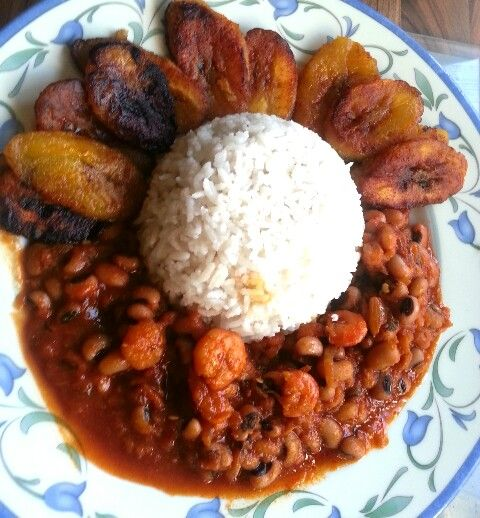 My homemade Ghana red red stew with plantains and rice!