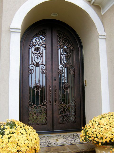 Full Glass Iron Double Door Clark Hall Iron Doors Charlotte Nc