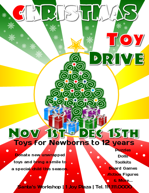 Microsoft Publisher Christmas Toy Drive Flyer Cute Ideas - Christmas flyer templates microsoft publisher