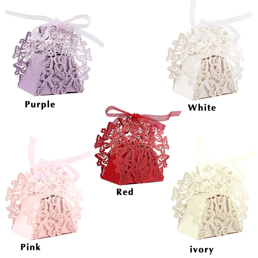 50pcs Butterfly Laser Cut Candy Box with Ribbon Wedding Baby Shower ...