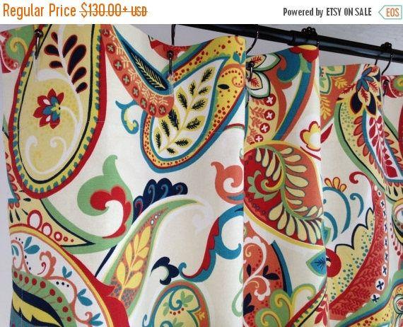 Custom Fabric Shower Curtain 54 X 78 Whimsy Paisley Multi Navy