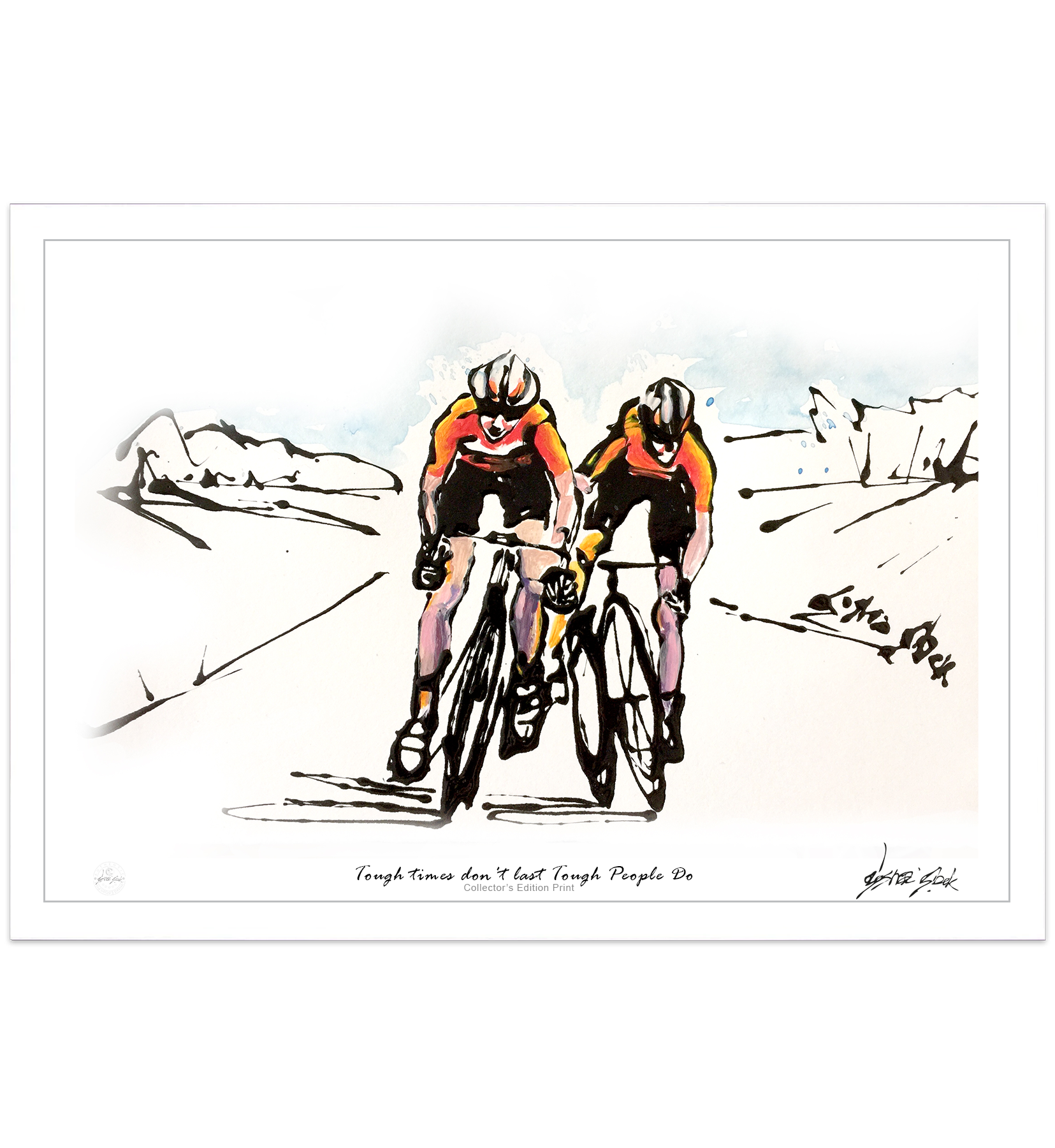 Two Cyclists Pursuing Each Other On Their Bikes Determined To Get