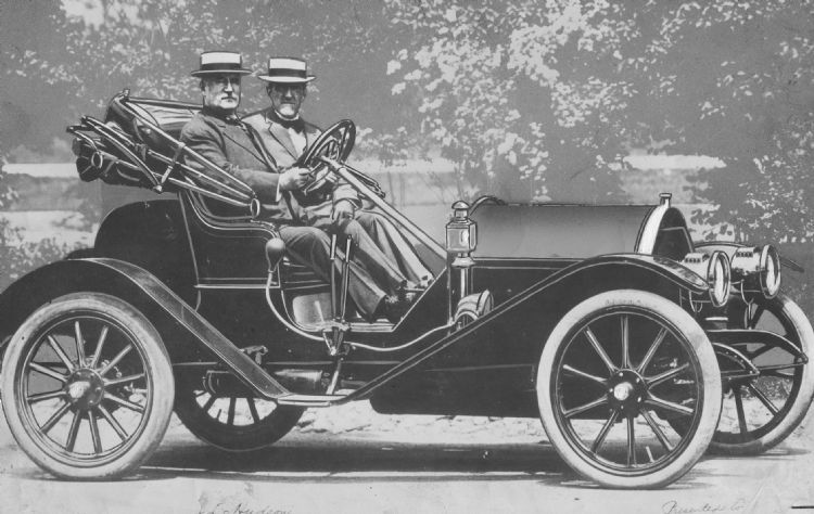 J L Hudson Left And Fred Dunham In The First Car Ever Built Was Major Investor Motor Co 1909