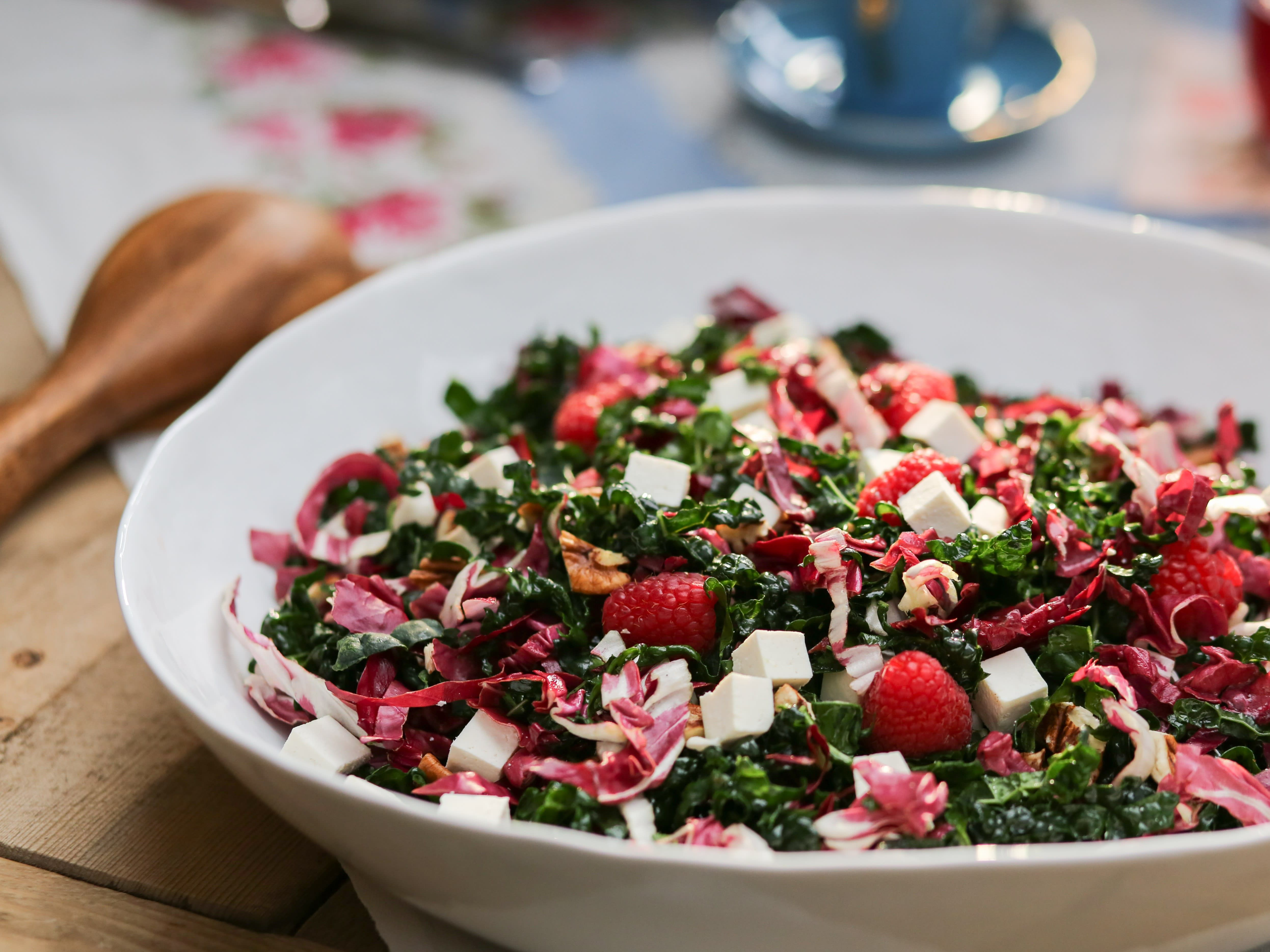 Kale And Radicchio Salad With Raspberry Vinaigrette Recipe Food Network Recipes Raspberry Vinaigrette Recipe Raspberry Salad