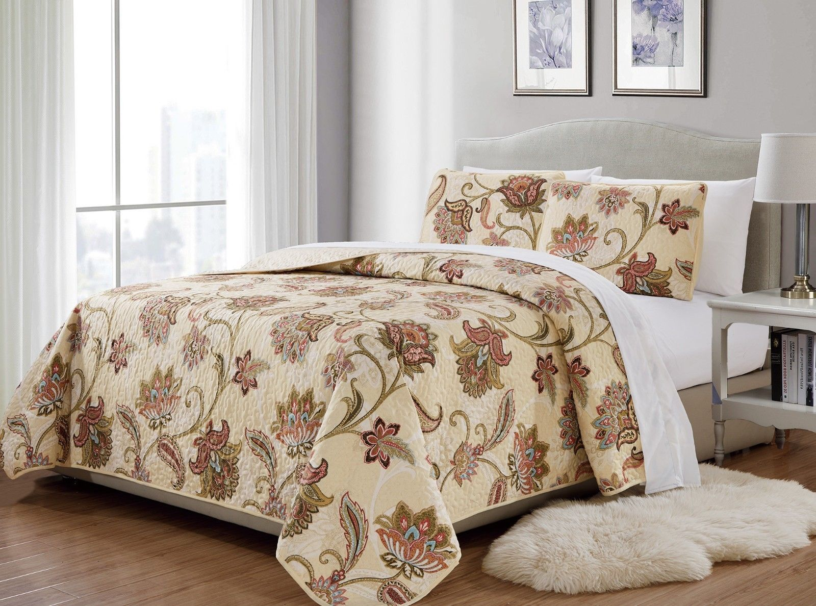 Fancy Linen 3pc King California King Bedspread Quilted Print Floral Beige Red Blue Taupe Over Size New Jane 64 Walmart Com Bed Spreads Bed Decor Luxury Bedspreads