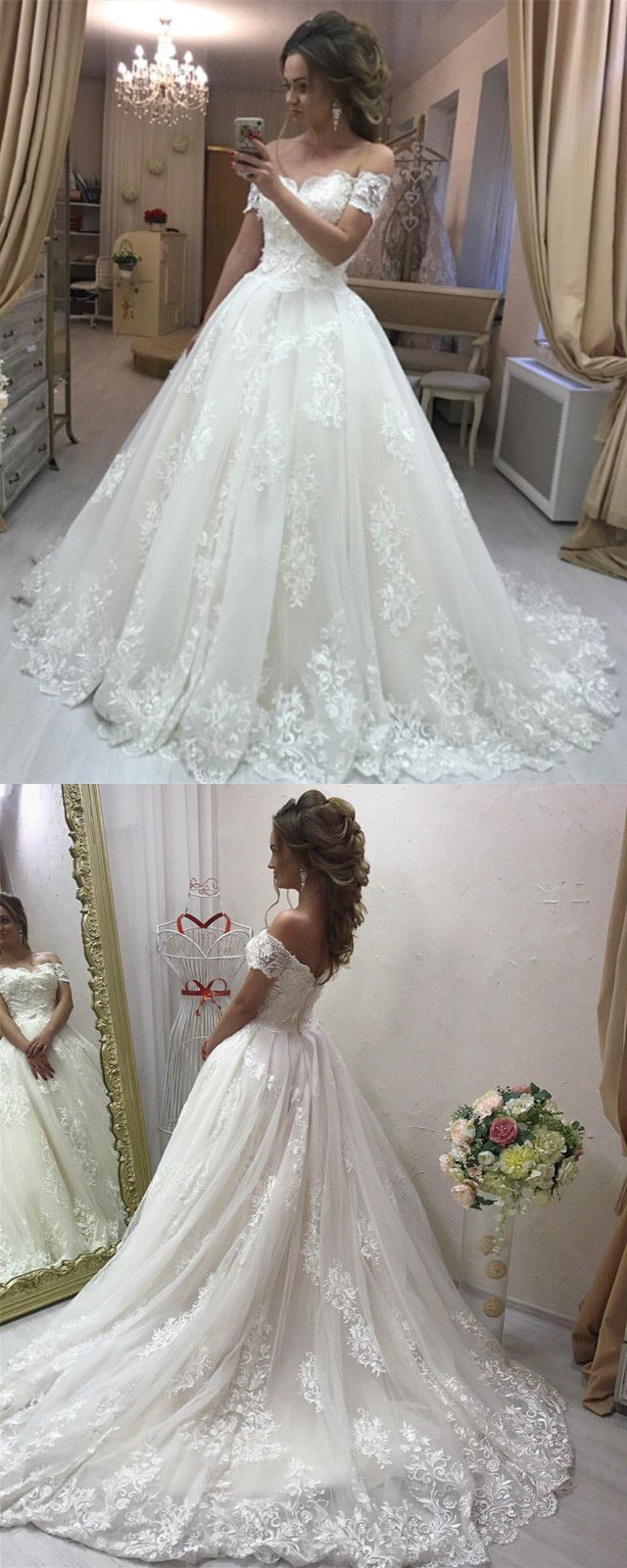 Love this style lace embroidery off shoulder tulle wedding