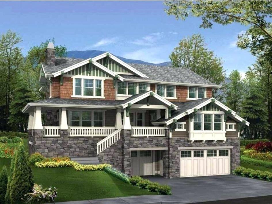 House Plans On Hillside Perfect Hillside Walkout Basement House Plans Luxury 1 5 Story Hou Craftsman House Plans Sloping Lot House Plan Craftsman Home Exterior