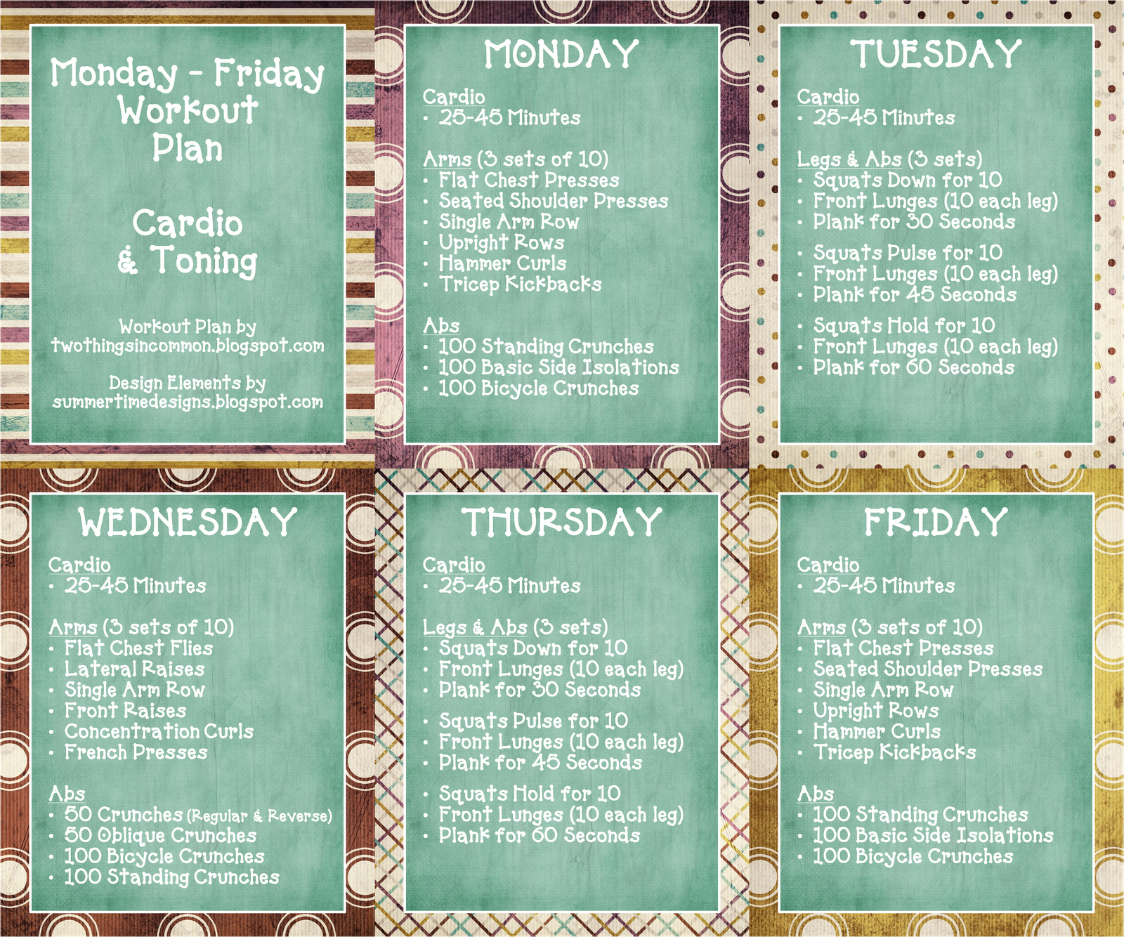 Daily Workout Schedule For Women You Can Find A Printable Copy Of My M F Workout