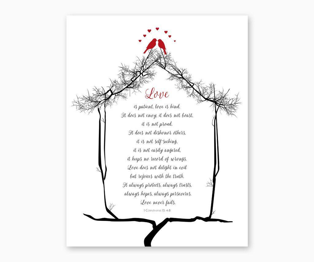 1 Corinthians 13 4 8 Love Is Patient Love Is Kind Love Birds