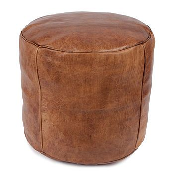 Moroccan leather drum pouffe cover drums moroccan pouffe and console tables - Rechthoekige lederen pouf ...