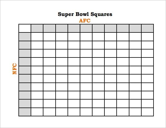 Wild image inside printable superbowl squares template