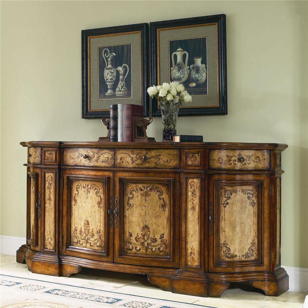Chests and consoles hand painted two tone credenza with - Bathroom vanities nebraska furniture mart ...
