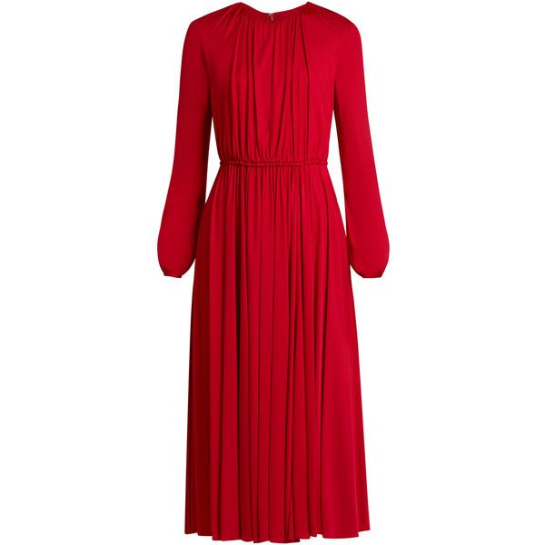 Valentino Long-sleeved gathered jersey midi dress (24.320 DKK) ❤ liked on Polyvore featuring dresses, valentino, cocktail dresses, red long sleeve dress, long sleeve evening dresses, red evening dresses and blouson cocktail dresses