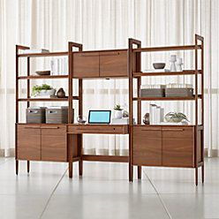 Tate Bookcase Desk with Power with 2 Bookcase Cabinets images