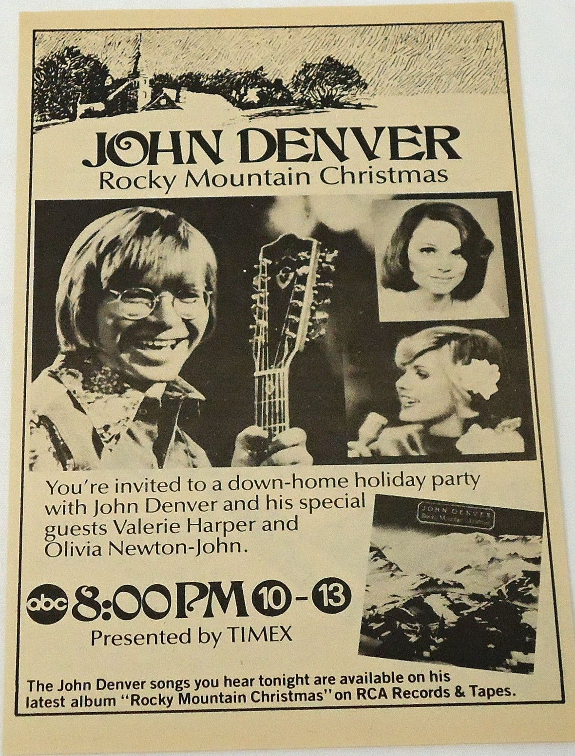 A Promo Ad For The Rocky Mountain Christmas Tv Special John