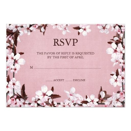 pink cherry blossoms border rsvp response cards cherry blossoms