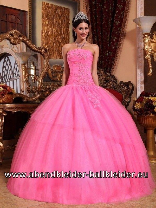 Trägerloses Pinkes Brautkleid Ballkleid Weites Abendkleid ...