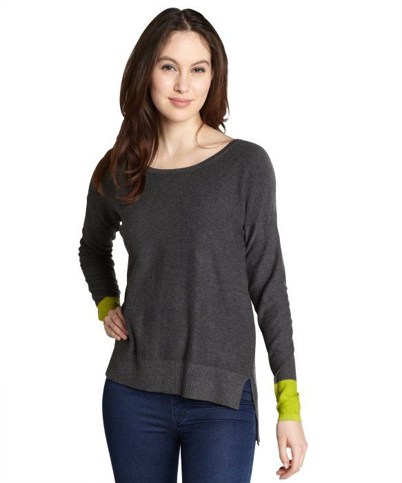Jamison heather grey long sleeved sweater with citron cuffs