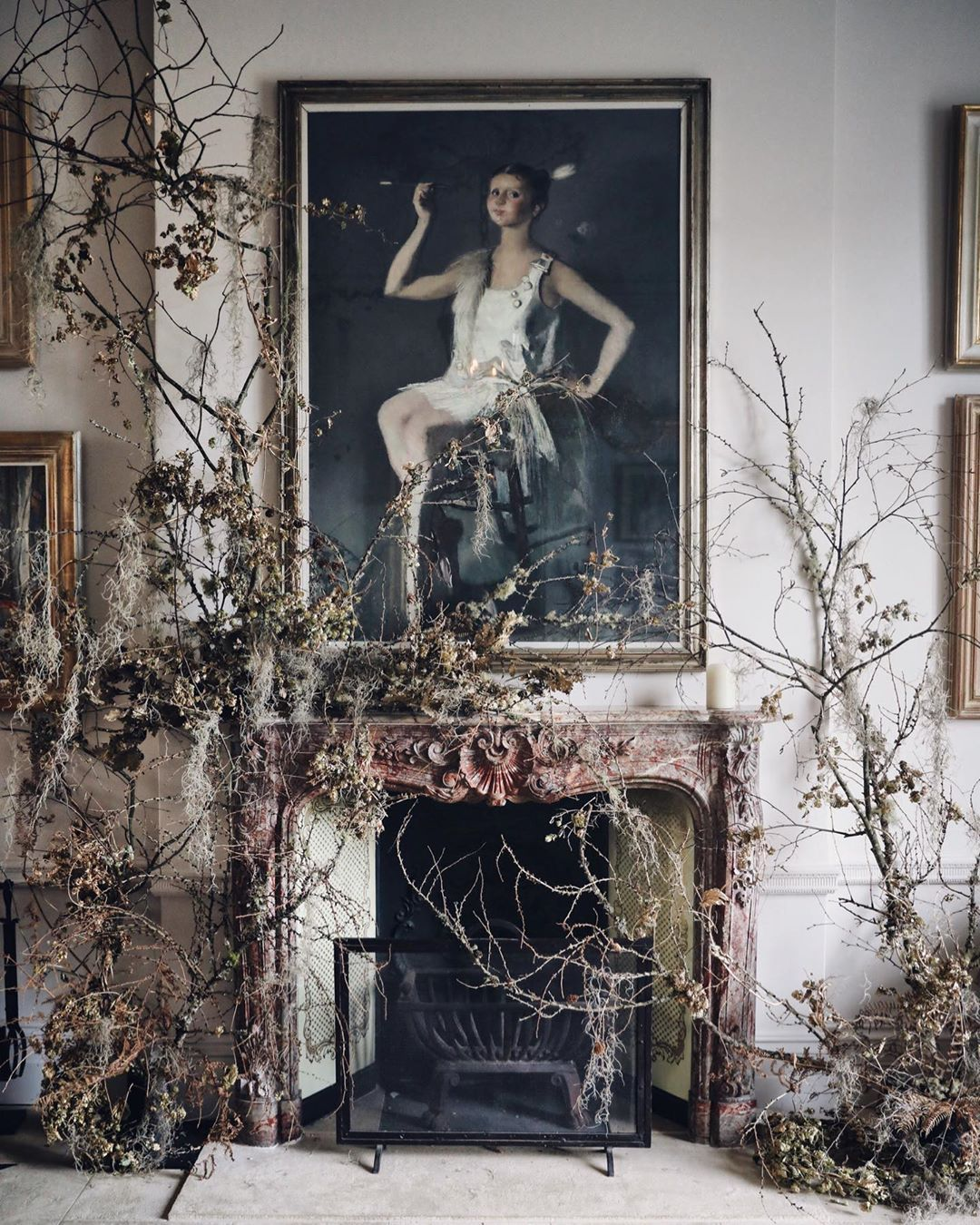 Kitten Grayson Flowers On Instagram The Forest Whispers Elegant Branches Adorn The Fireplaces At Heckfield Place Ki Heckfield Flowers Wedding Flowers