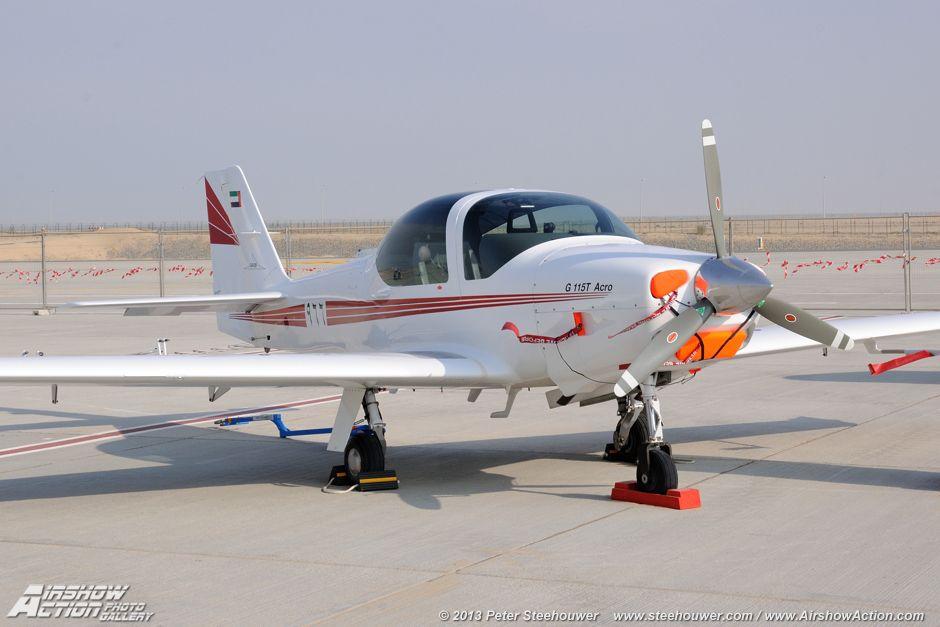 Grob G.115T trainer, United Arab Emirates Air Force. Dubai Airshow 2013 Dubai World Central (Airport), United Arab Emirates (UAE), 17th > 21th of November 2013.
