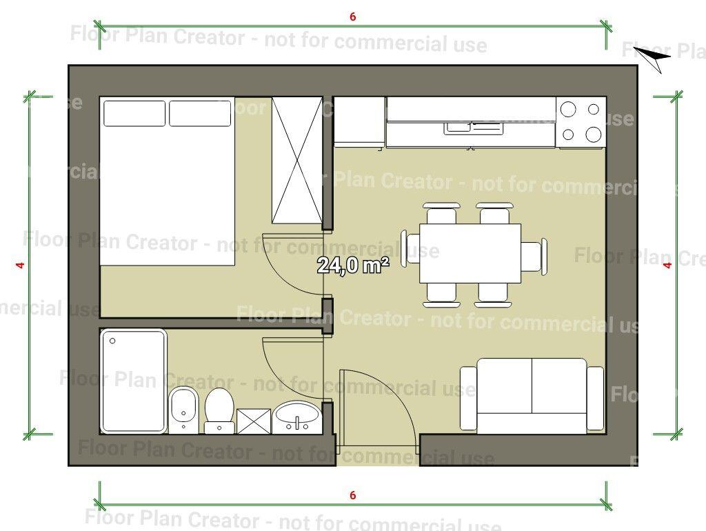 6x4 una rec mara planos y croquis en 2019 dise o casas for Diseno de apartamento de una habitacion