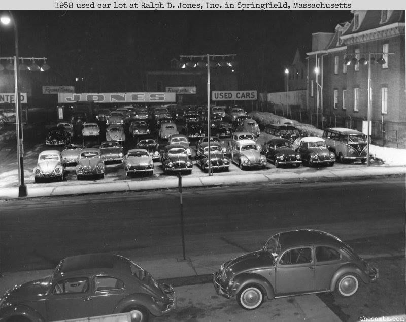 1958 used car lot at Ralph D. Jones, Inc. in Springfield
