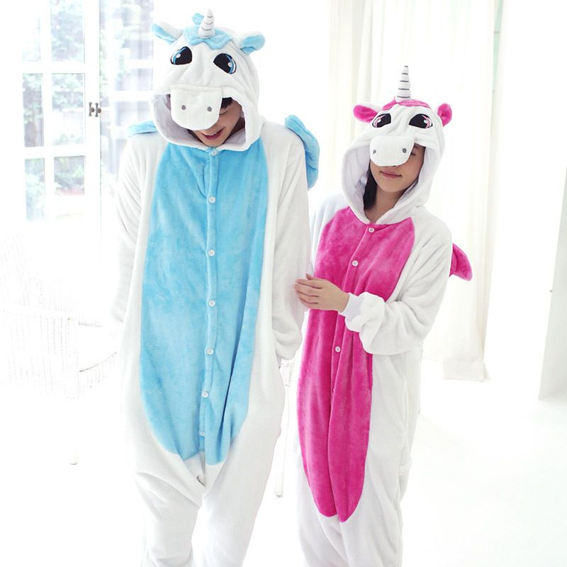 Lovers Flannel Anime Pokemon Unicorn Cosplay Costume Onesies Nightgown For Woman And Man Autumn