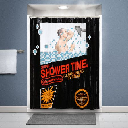 Nes Cartridge Shower Curtain Think Geek Geek Decor Curtains
