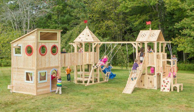 Spielhaus Im Garten Modernes Kinderspielhaus Aus Holz Spielburg Mit Rutsche Kletterwand Und Schaukel In 2020 Playset Outdoor Outdoor Play Structures Play Houses
