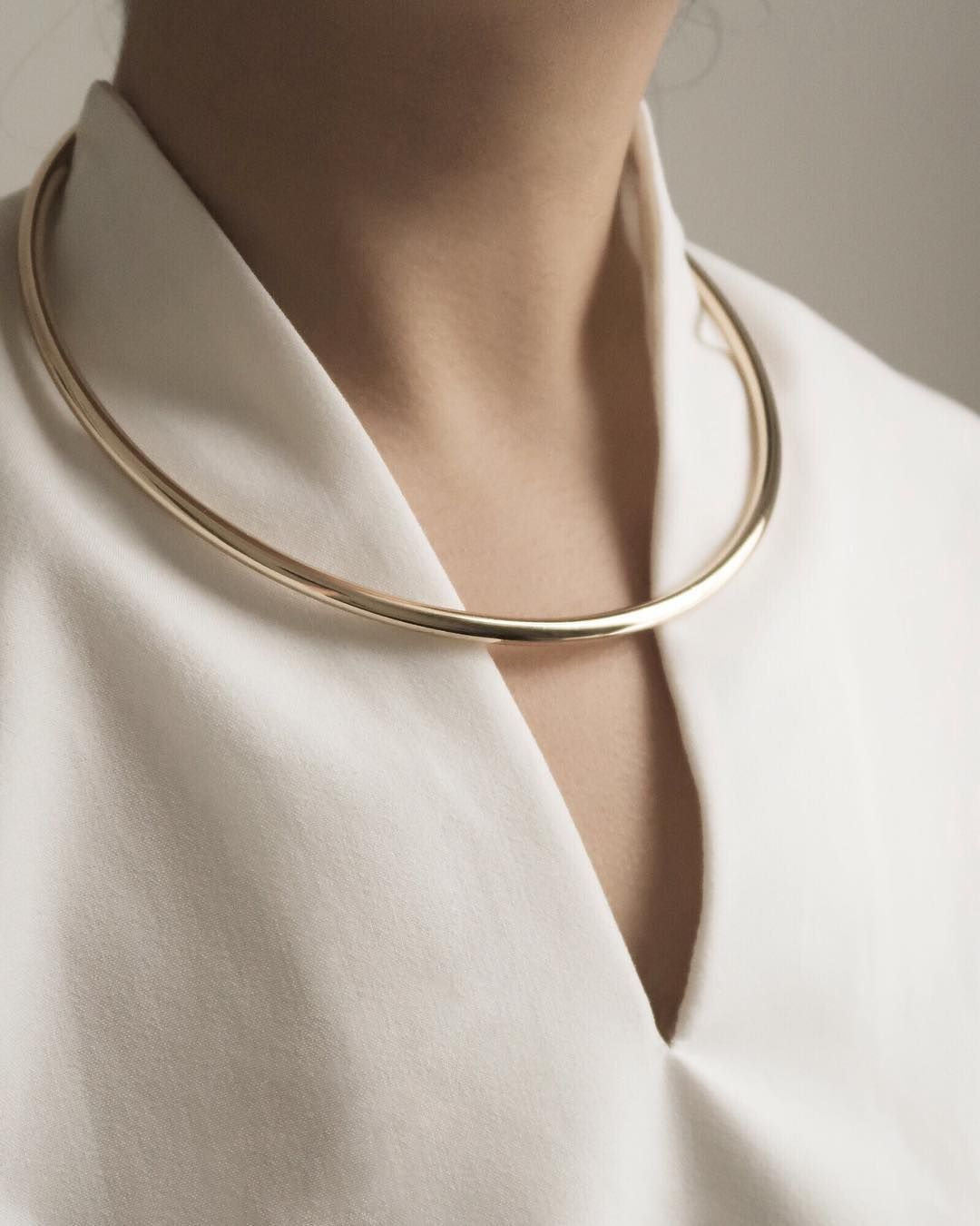 Pure Solid 925 Sterling Silver Choker Collar Wire Necklace Oval Hammered Style