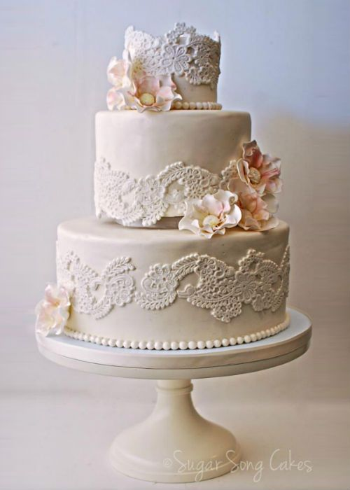 A Gorgeously Tailored Cake With Lace Applique By SugarSong Custom Cakes Is Perfect Match For Our Vintage Wedding Stand