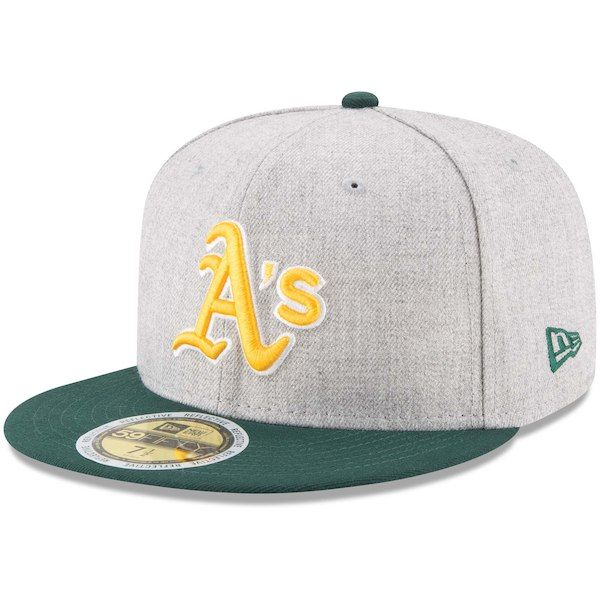 official photos 116ab 3f594 Men s Oakland Athletics New Era Heathered Gray Green Heather Hit 59FIFTY  Fitted Hat, Your Price   37.99