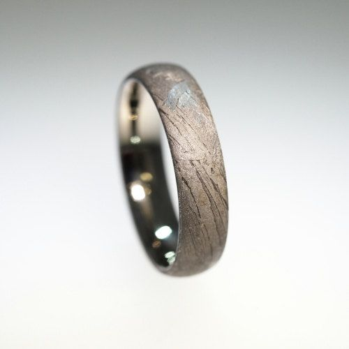 Simple Meteorite Ring In Titanium Mens Meteorite Ring Meteorite Ring Mens Wedding Bands